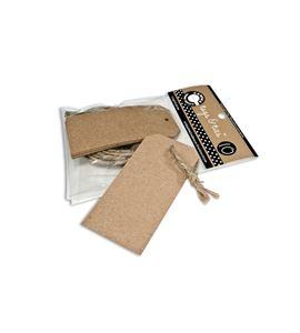 Kit de etiquetas krafts + cuerda - 7,5 x 4 cm. - TAG1887