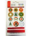 Kit de botones y cintas - navidad rojo