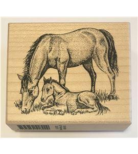 Sello de madera - caballos - PEG1876-1