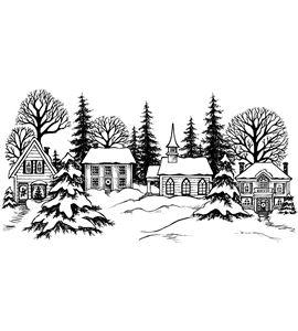 Sello de madera - paisaje navidad - PEK1603