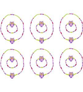 Set de repuesto joyería con lechucitas, lila - 10246