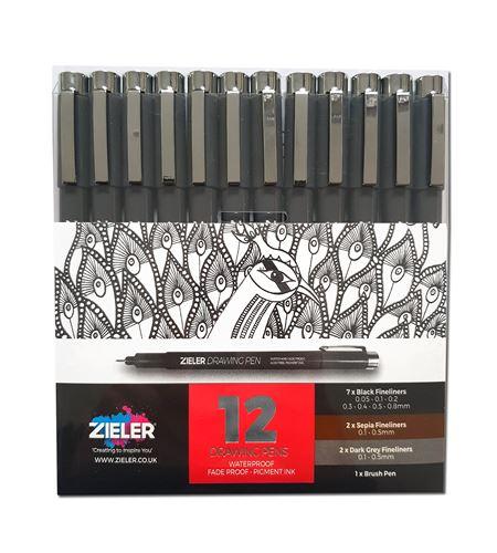 Estuche 12 rotuladores punta fina para dibujo colores negro, sepia y gris. - 09299288
