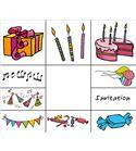 "Set sellos infantiles madera ""cumpleaños"""