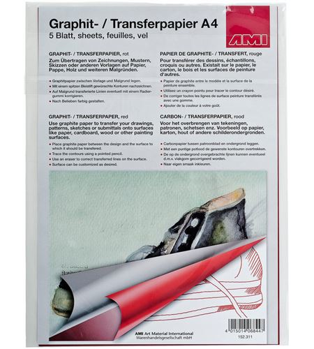 Papel de calco color rojo a4 297mm x 210mm 5u. - AM-152311