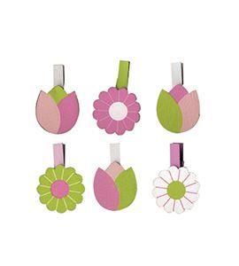 Pinzas de madera - flores - 14002082