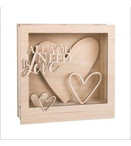 Marco decorativo 3d madera 24x24x6,3cm corazones - 62887505