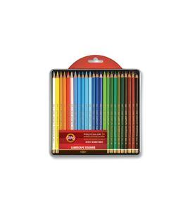 Estuche metálico 24 lápices polycolor koh-i-noor tonos paisaje - KN362829