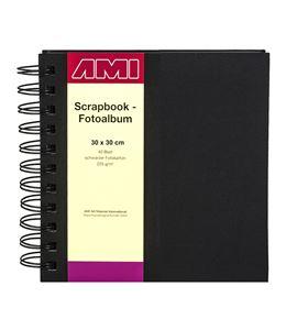 Álbum de scrapbook 30x30cm 40 hojas color negro tapas lino - 182233