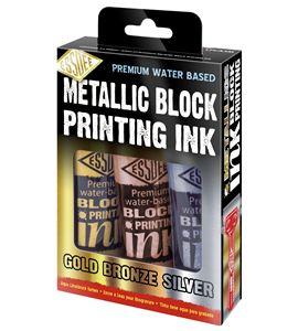 Conjunto de tintas linograbado colores metalizados 3 x 100ml - LPI-A3M