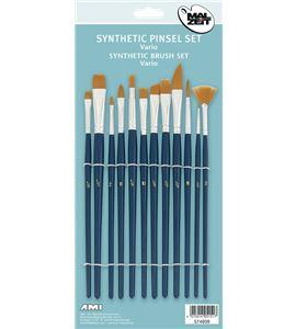 Kit de 12 pinceles sintéticos varias formas mango corto ami - AM-574939