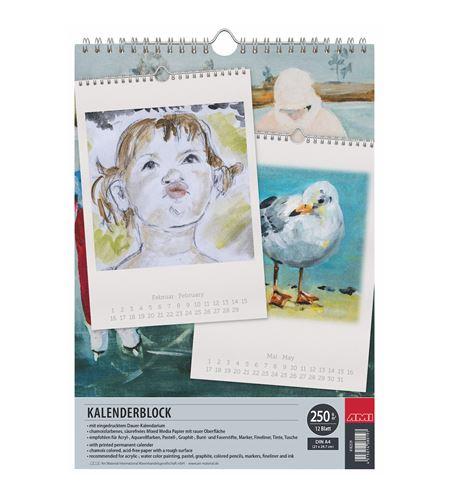 Calendario bloc acuarela 12 hojas a4 250 gr m2 - 182329