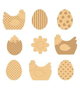 Mini siluetas de madera - huevos y gallinas - 14001896