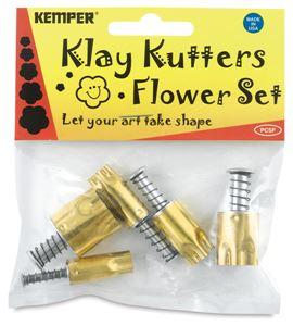 Set de 5 cortadores para arcilla con expulsor flor - PCSF