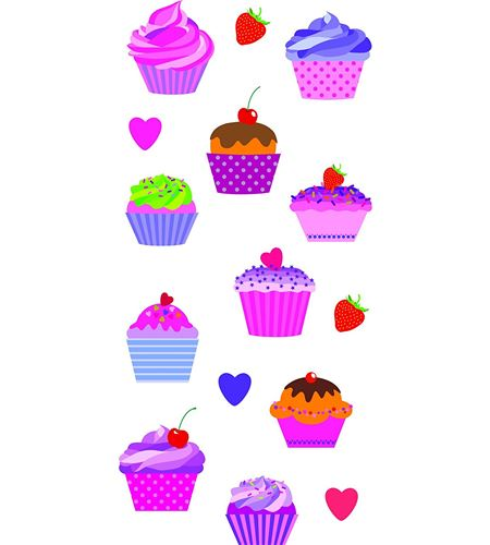 Autoadhesivos 3d cupcakes multicolor - 11004057