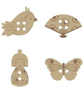 Botones de madera - japón - 14001713